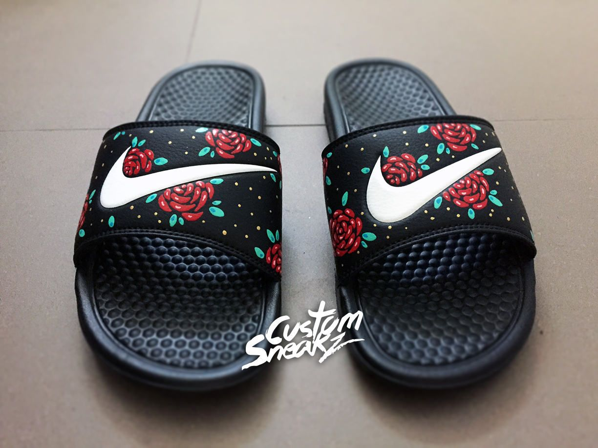 best sneakers 05887 5507f Mens Custom Nike Benassi Flip Flop Sandals, Mens Gold Custom Design,  Floral, Roses, Swoosh Slide Sandals by CustomSneakz on Etsy