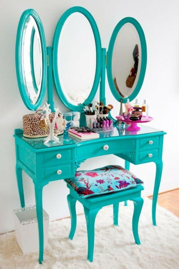 schminktisch modell mit drei spiegeln runder form und türkis farbe - schminktisch ideen aufbewahrung