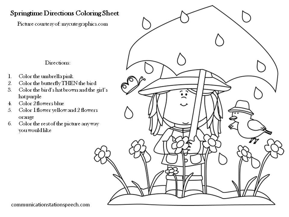 FREEBIE Friday: Springtime Directions Coloring Sheets