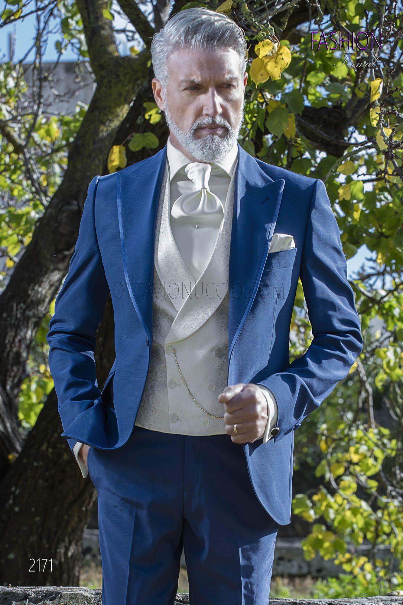 good looking detailed pictures wholesale dealer Costume bleu electrique mariage avec gilet blanc croisé ...