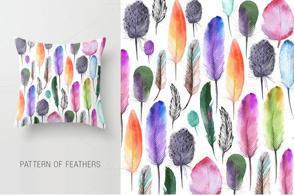 Feathers #watercolor #patternt #design #feathers