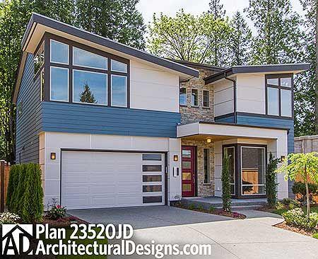 Plan 23520JD Contemporary Design With Angular Roofline Open floor