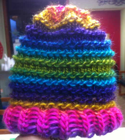 Brim is kint 1/purl 1.  Hat is three rows knit/1 row purl.  Extra large loom.