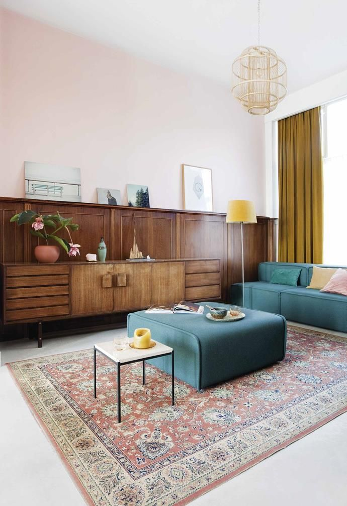 Photo of A colourful industrial home with mid-century modern style