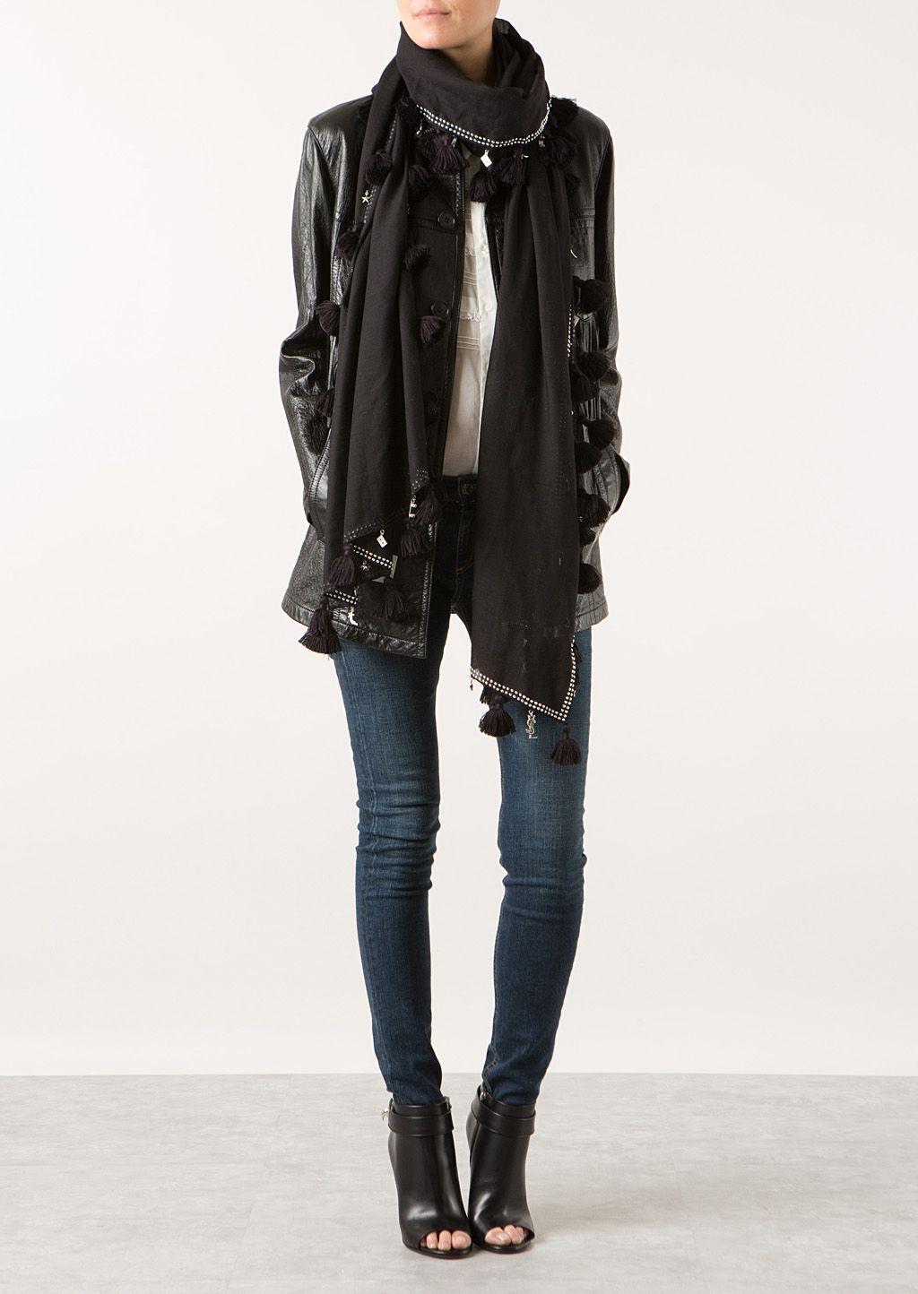 Laurent Saint Jackets pea black Saint leather fringed Laurent 4T1FWqw