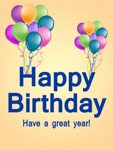 Birthday Balloon Decoration Card Colorful Birthday Balloons Always