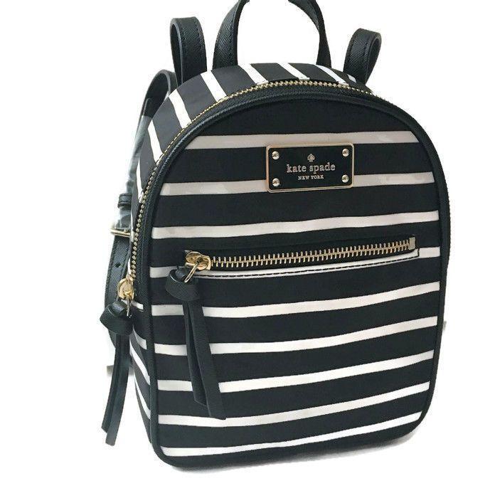 f5e2c94c90b8 KATE SPADE Mini Bradley BACKPACK ~ Black Stripe Nylon Wilson Road Bag   katespade  Backpack