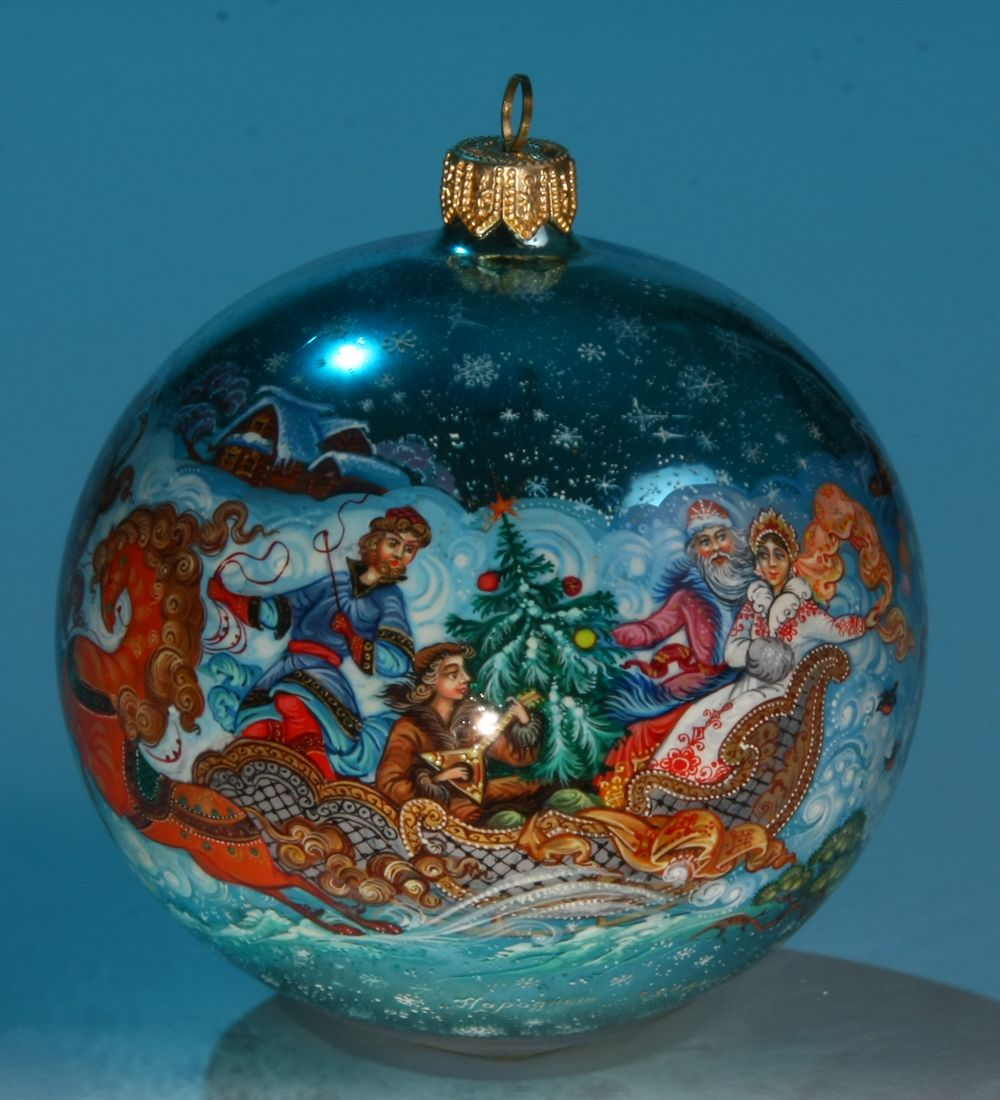 Russia Christmas Ornaments.Russian Christmas Kholuy Style Collectible Hand Painted