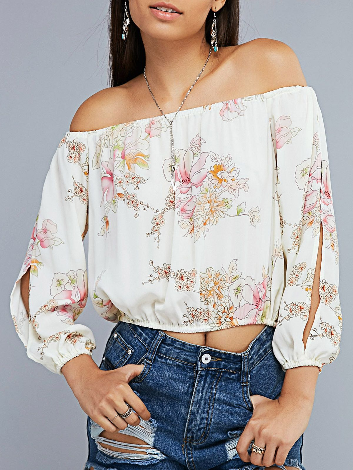 8d23f6f09cdcdf Floral Print Off The Shoulder Split Sleeve Cropped Blouse | Tops For ...