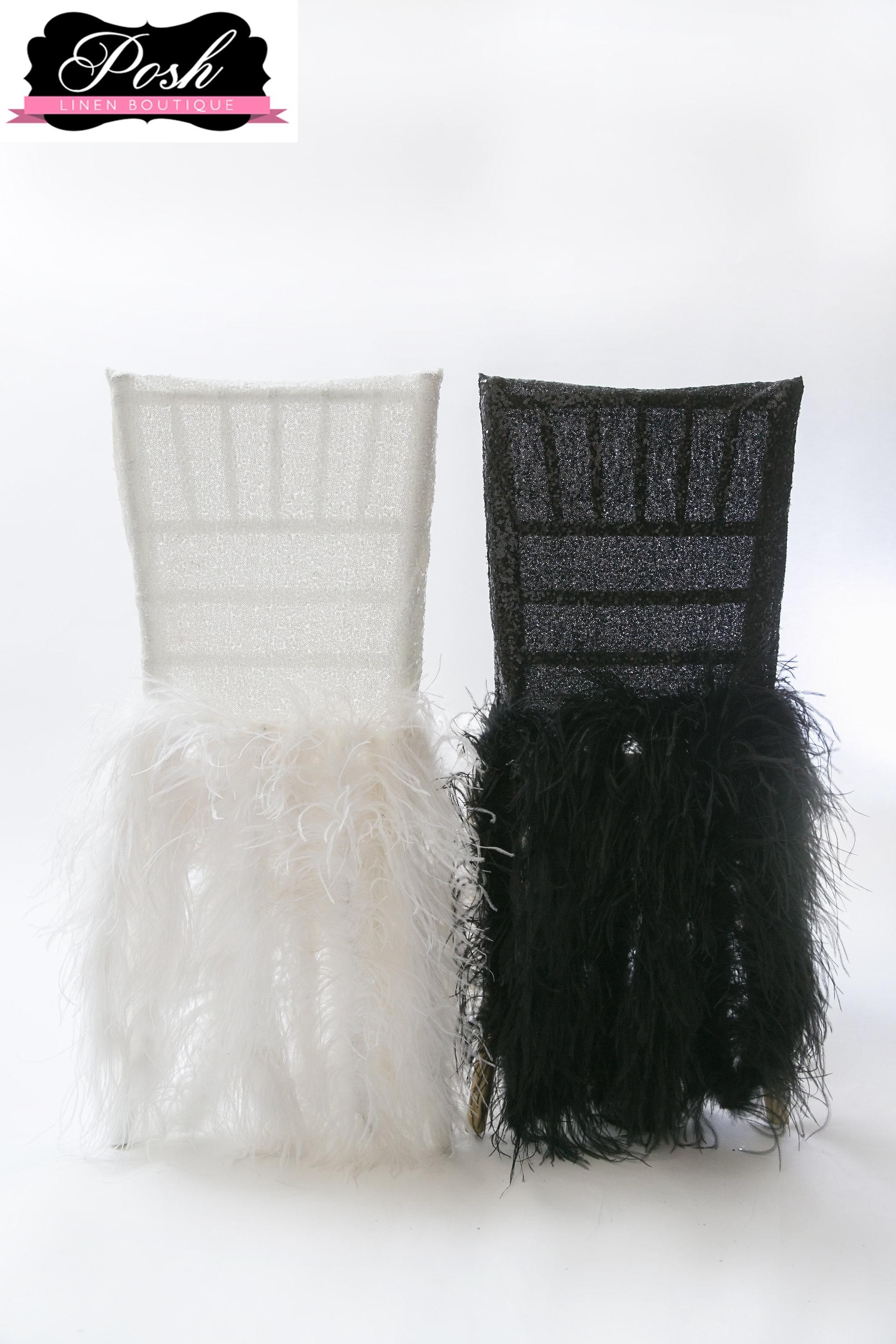 white chair covers amazon swing chairs for bedrooms now on sale sequin topper paired with faux ostrich feathers make this an unforgettable cover featured black