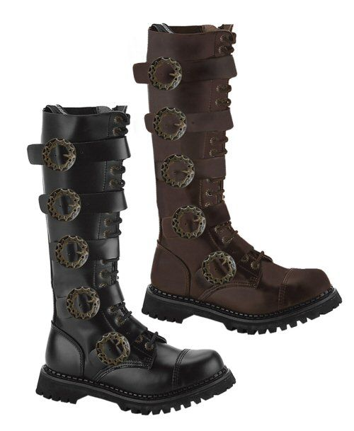 Mens Brown Leather Gothic Steampunk Boots by Demonia. Demonia mens lace-up  steampunk boots with five straps and gear buckles.