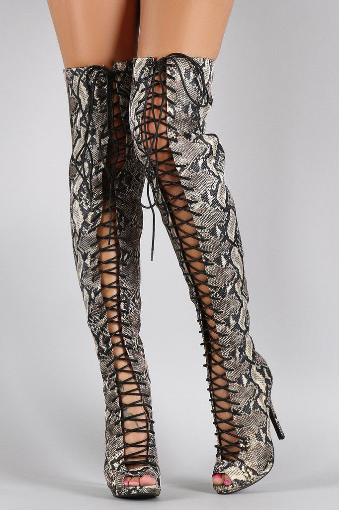 c408fbab009 Liliana Python Peep Toe Lace Up Stiletto Thigh High Boot