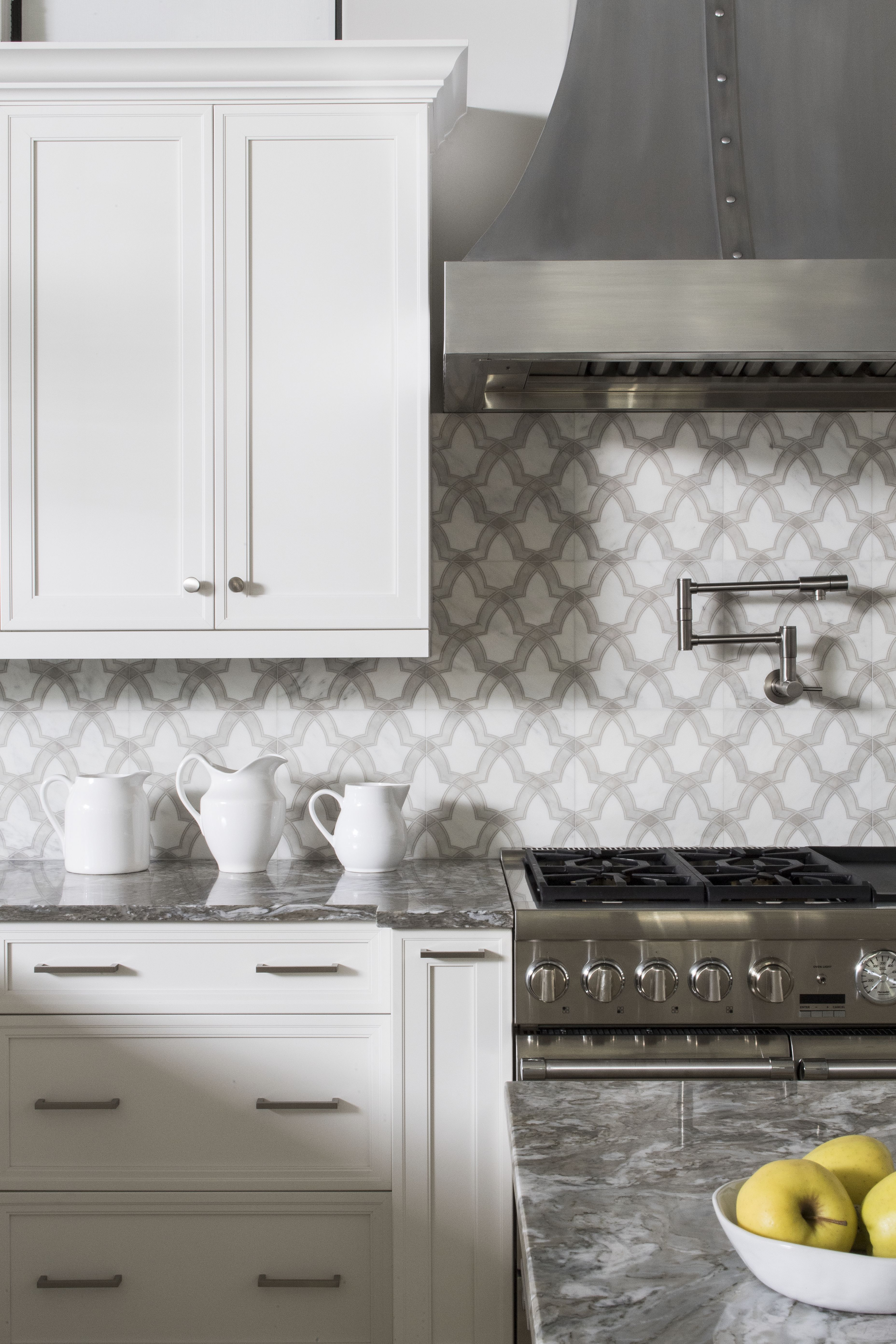 The Evolve pattern featured on Carrara marble, can be used as a ...