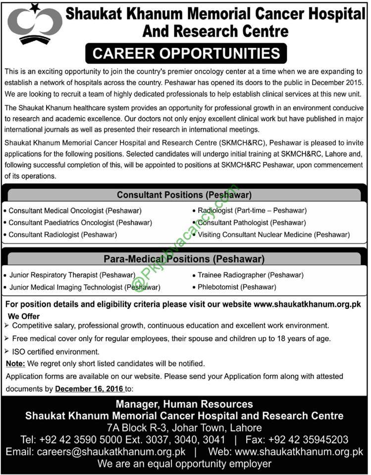 Shaukat Khanum Memorial Cancer Hospital Peshawar Jobs December 2016
