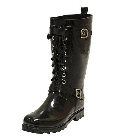 Black Moto Rain Boot  - Women by däv on #zulily