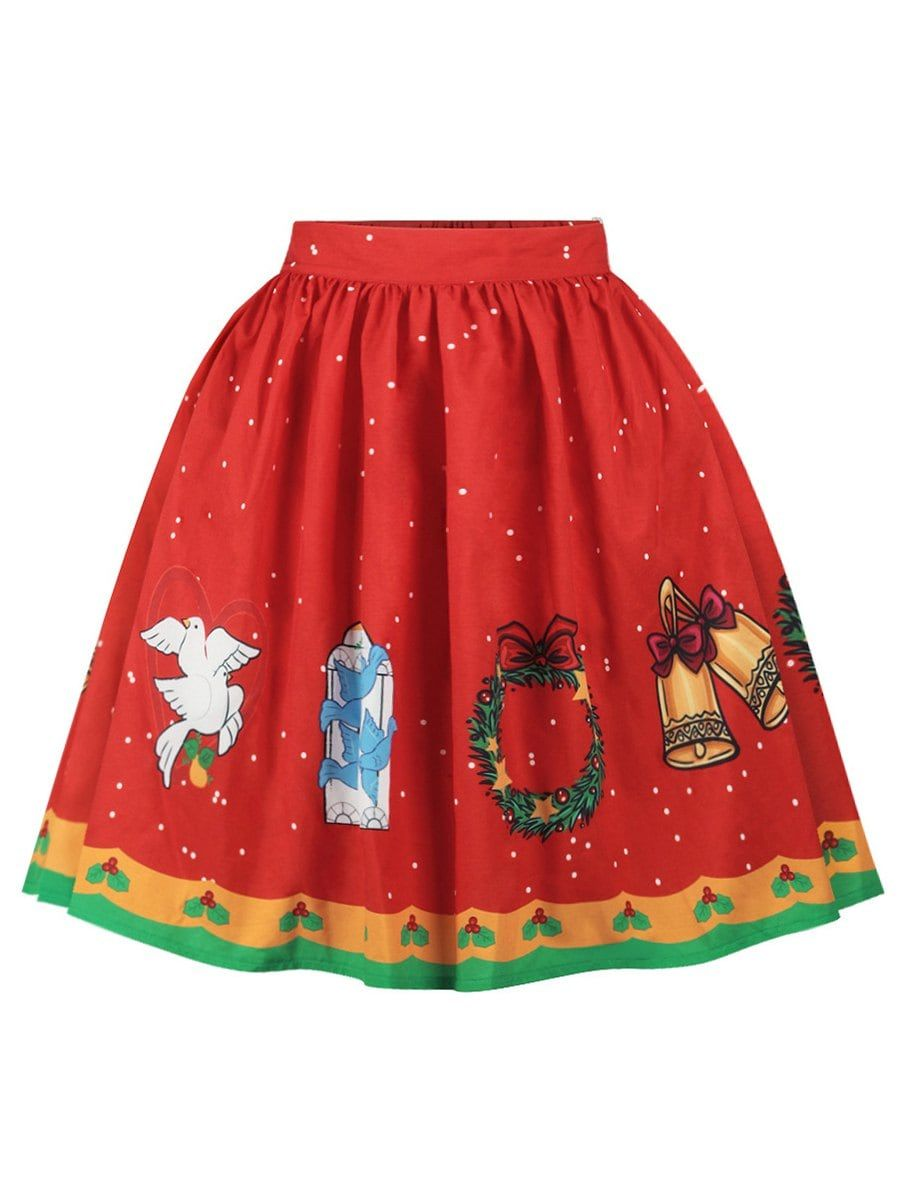 Plus Line Size Skirt Christmas Graphic 4x A 46Off2018 In Red QordBExeWC