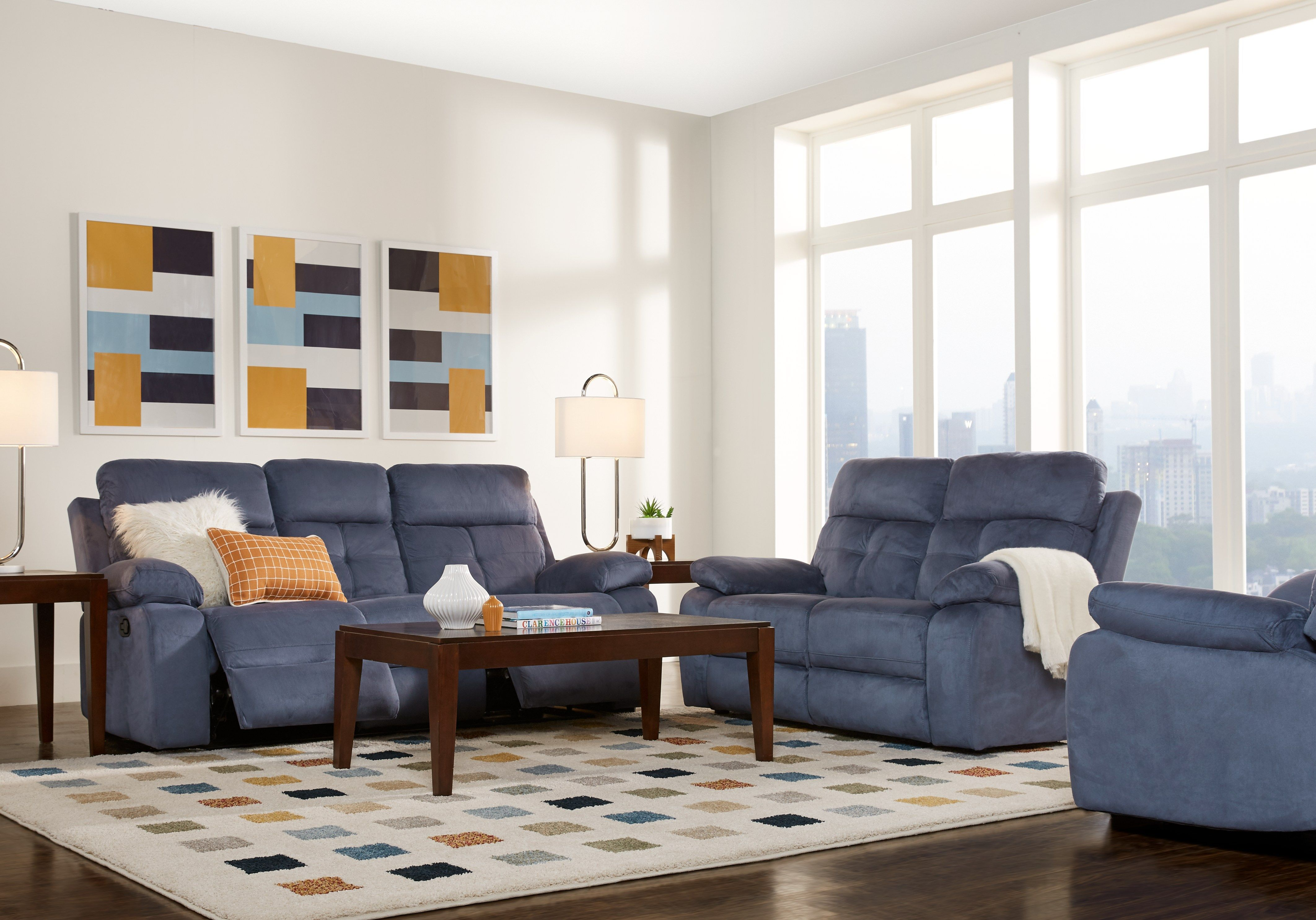 Corinne Blue 3 Pc Living Room With Reclining Sofa In 2019