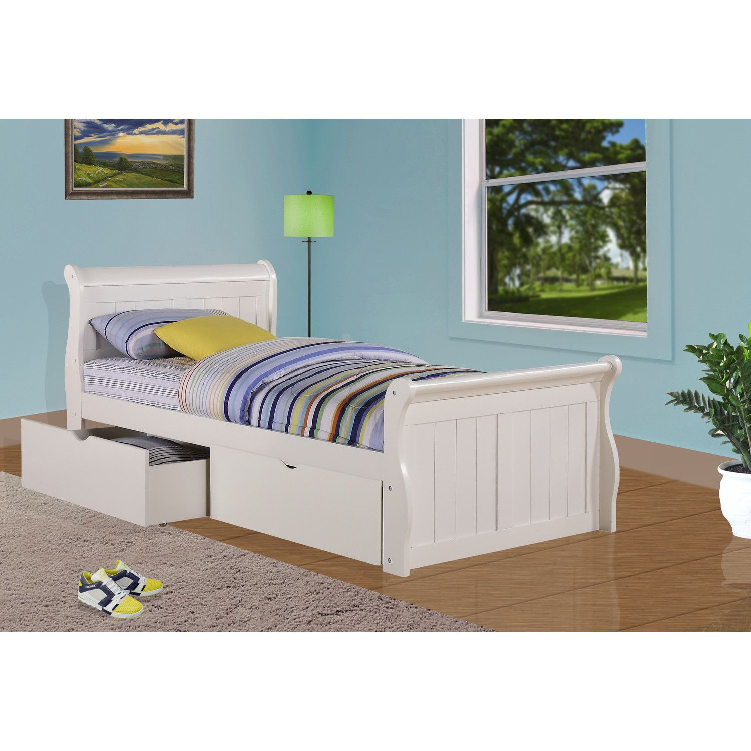 Donco Kids Sleigh Bed with Dual Underbed Drawers White
