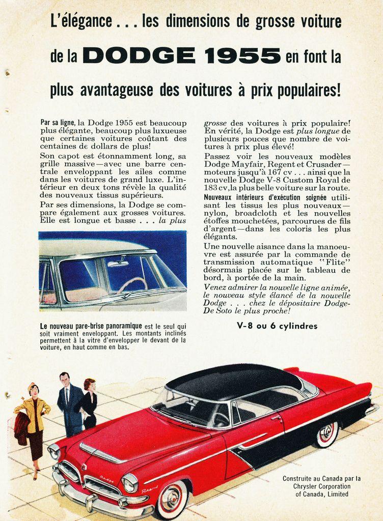 1955 Dodge Mayfair Ad (Canada) Dodge, Classic cars