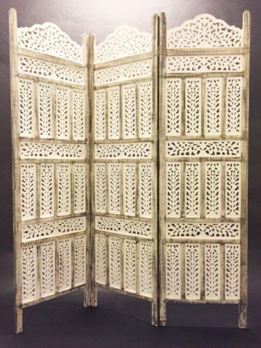Orient Shabby Chic Indische Holz Paravent Raumteiler Trennwand