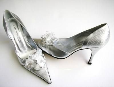Sabrina Chic Italian Designer Shoes Silver Bridal Mother Bride Size4 5