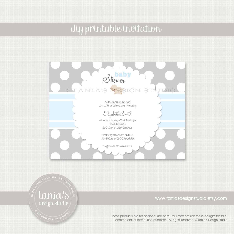 Little Lamb Printable Baby Shower Invitation by taniasdesignstudio ...