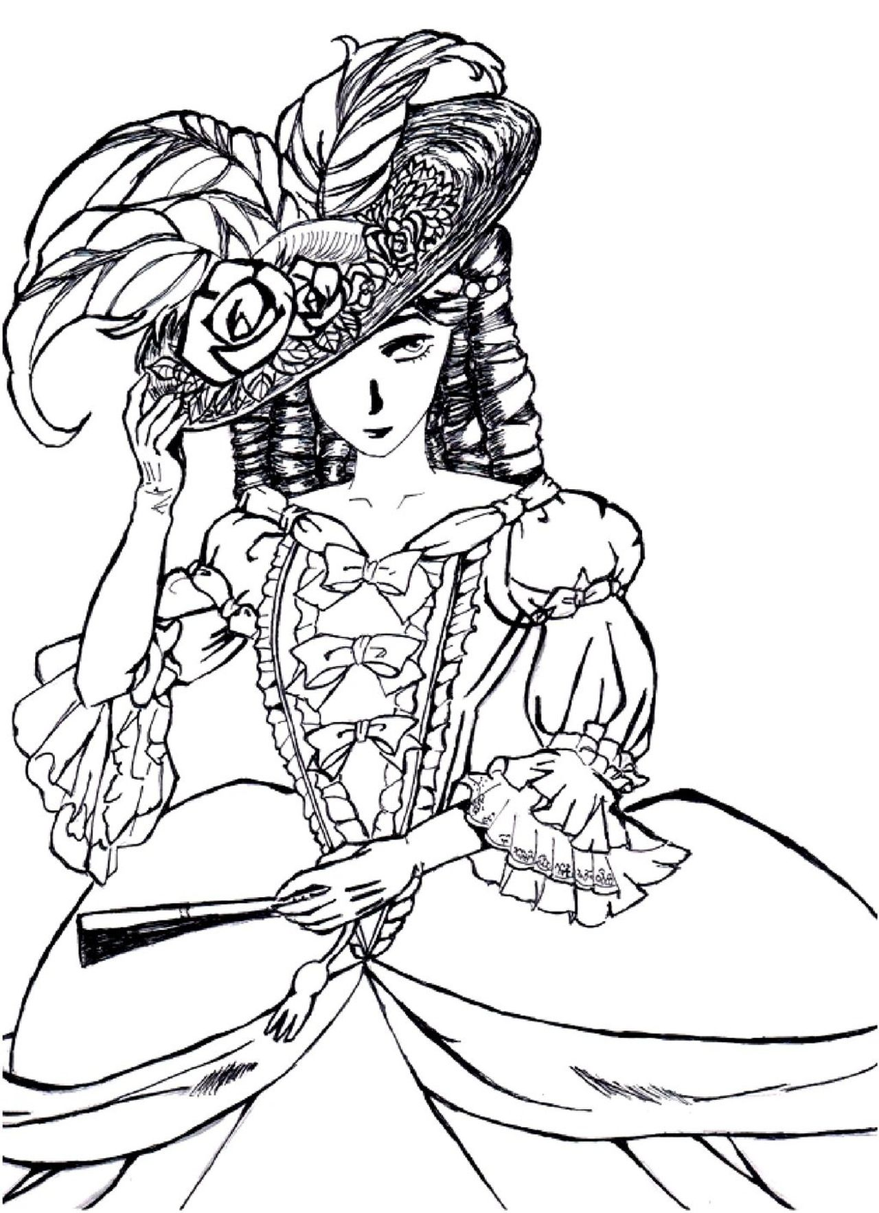 Victorian woman fashion dress hard coloring pages for grown ups