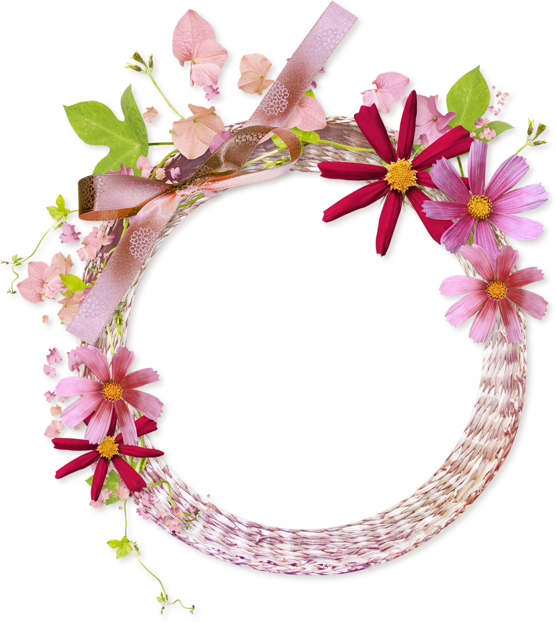 Pink Round Transparent Frame with Flowers Flower frame