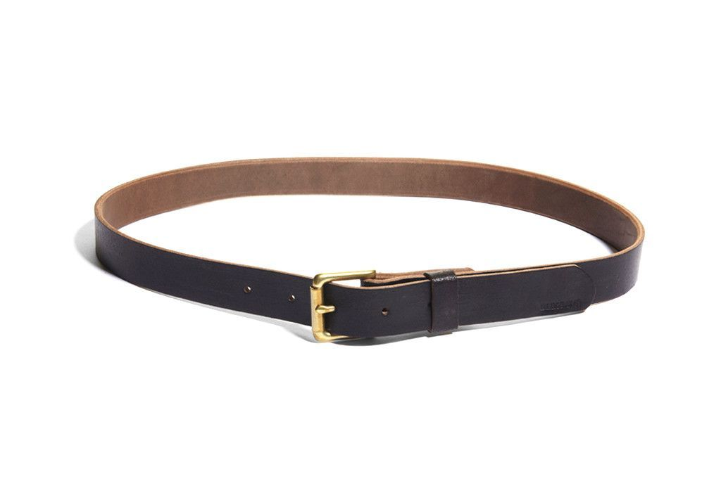 No. 384 Skinny Roller Bar Belt, Black Waxed Flesh