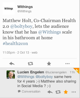 Matthew Holt, Co-Chairman Health 2.0 @Hannah Mestel Stapleton, lets the audience know that he has @Withings scale in his bathroom at home #health2con Learn more: http://www.withings.com/en/scales