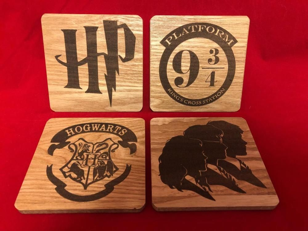 HARRY POTTER Wooden Coaster set - CNC Laser engraved - HARRY POTTER ... 74b4fe4e2