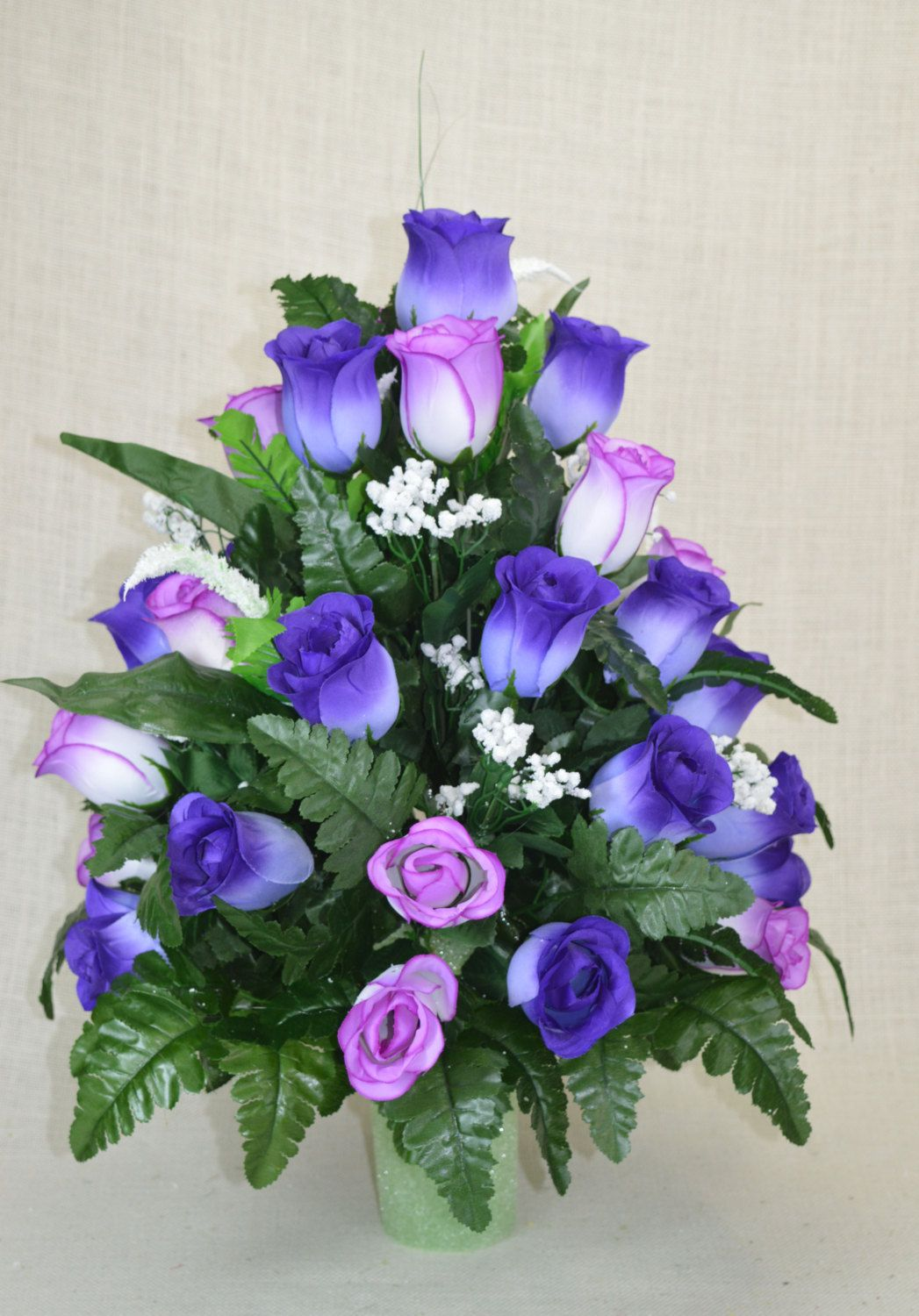 No R100 Purple And Lavender Rose Cemetery Flower Spring Cone
