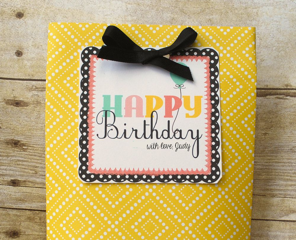 Instant Download Printable Custom Happy Birthday Tag Personalized