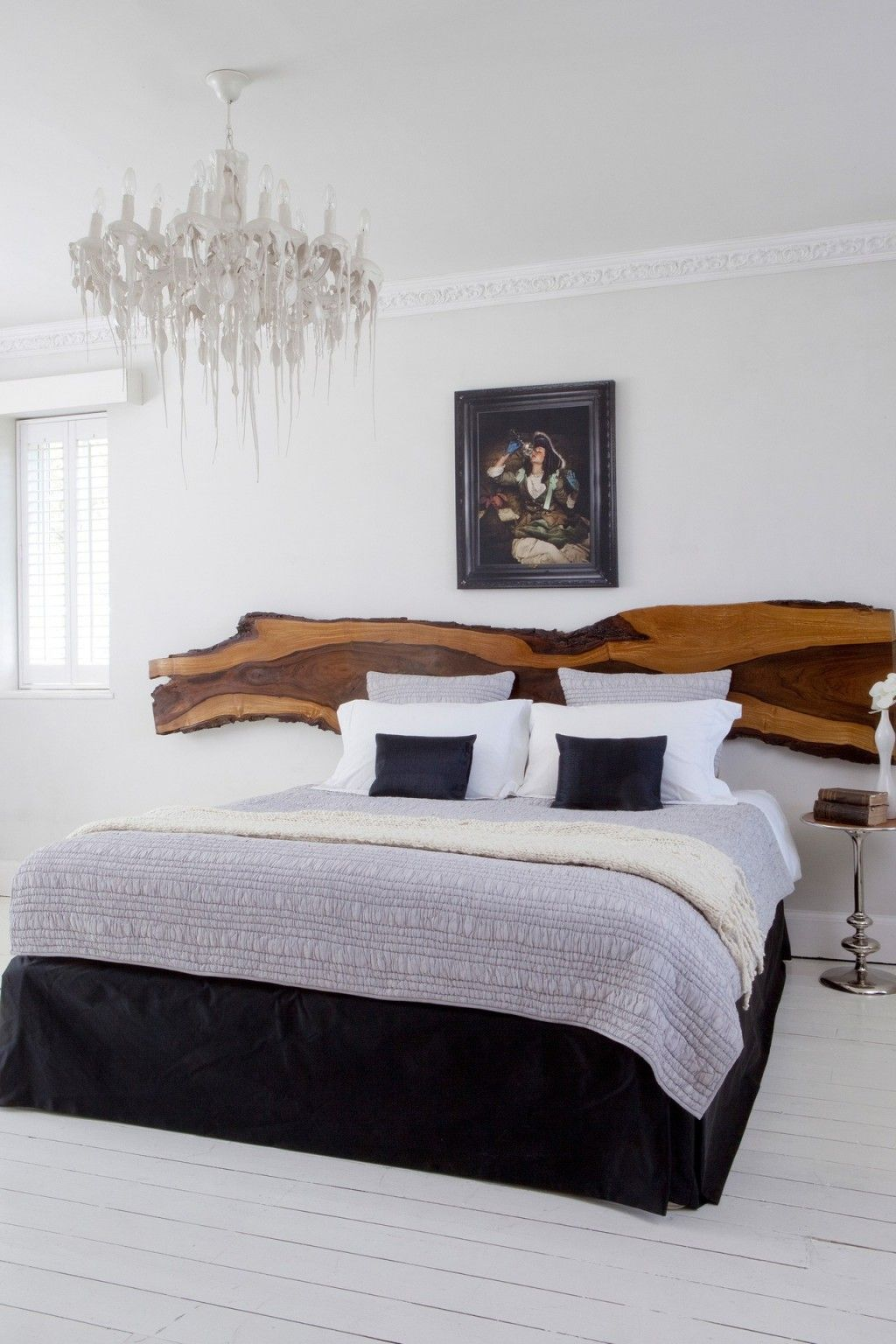 Creative Headboards With Natural Wooden Headboard Modern Master Bed And Vintage Wall Hanging Design For Solutions
