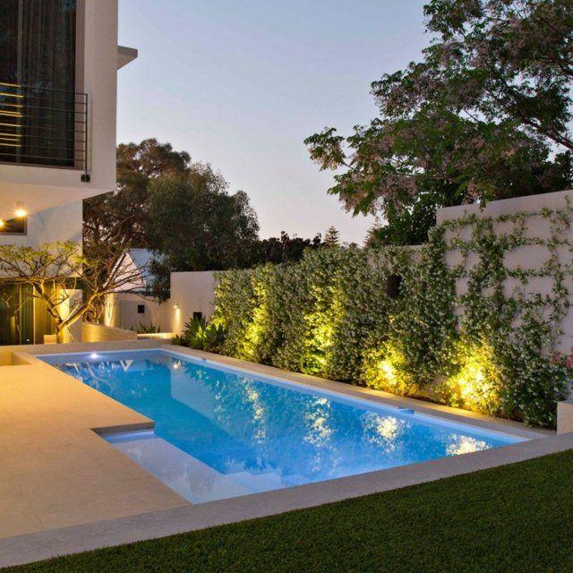 Exotisches Haus Pool Beleuchtung Rasen Design Fliesen Poolden Garten