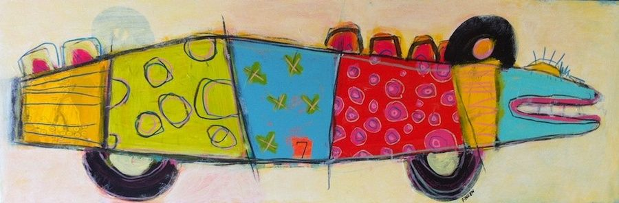 """Fish Car, 12"""" x 36"""", at High Street Gallery, Belfast ME : Studio/Gallery Inventory : Susan Finsen - Abstract Drawing and Painting"""