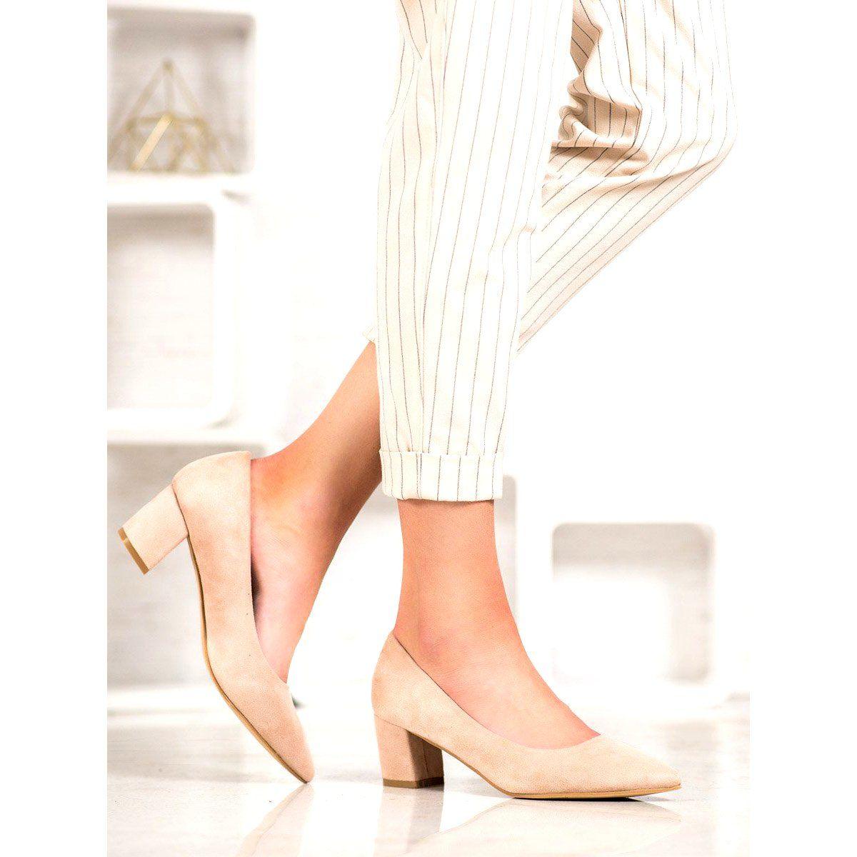 Small Swan Wygodne Zamszowe Czolenka Brazowe Heels Shoes Mule Shoe