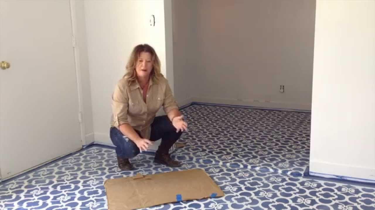 To Stencilhow We Stencil A Floor Easy Diy Floor Makeover