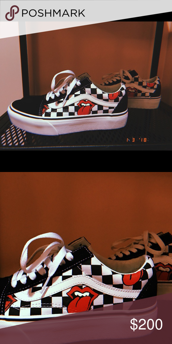 67e6f11f258 Hand Painted Rolling Stones Platform Vans Painted by www.basaltla.com   Special Order  takes one week to paint  Vans Shoes Sneakers