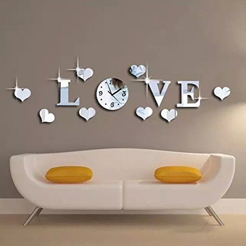 Alrens_DIY(TM)Silver Creative Love Heart Boutique Store Art Mordern