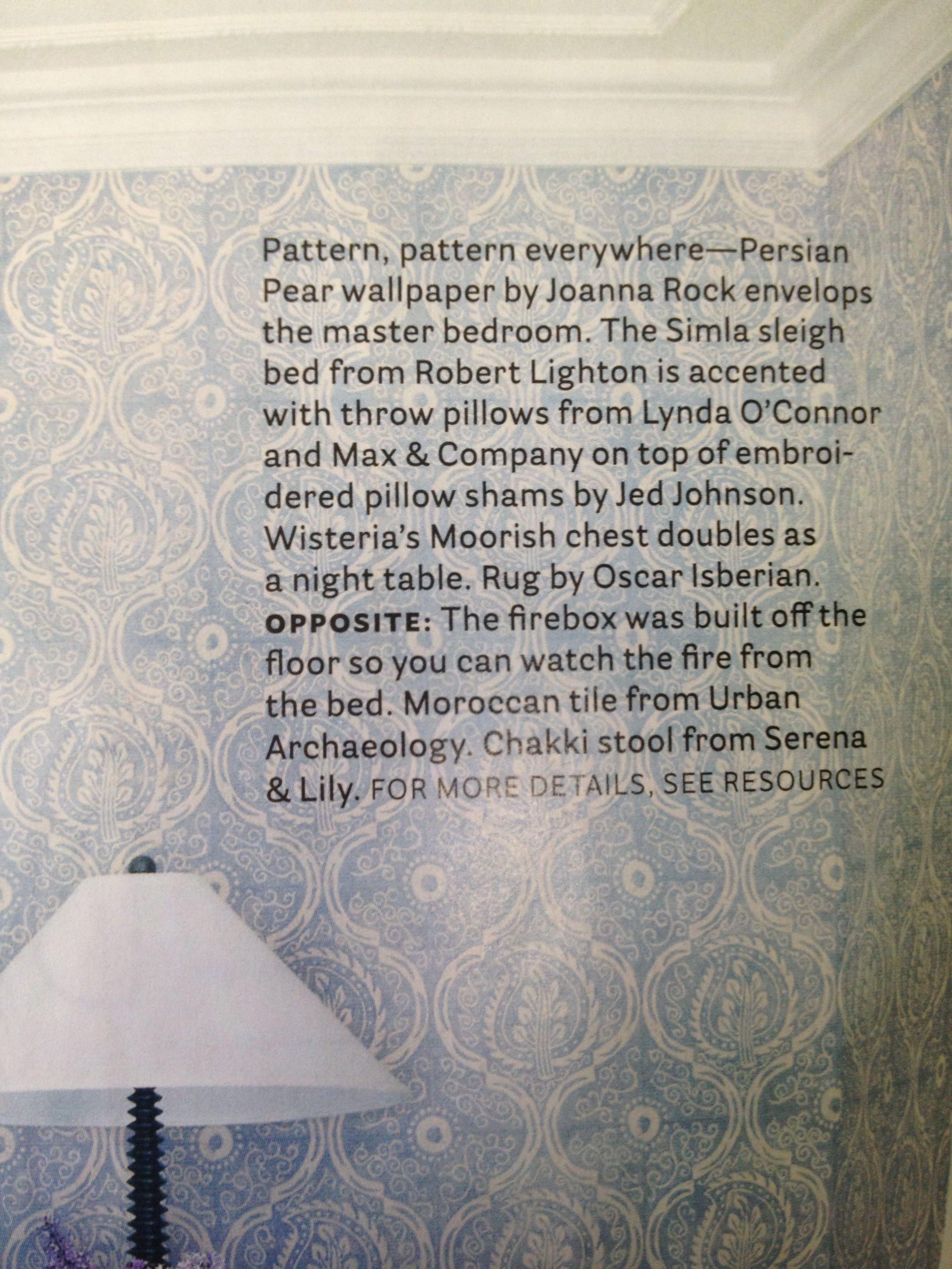 House Beautiful Magazine ; Persian Pear Wallpaper by Joanna Rock.
