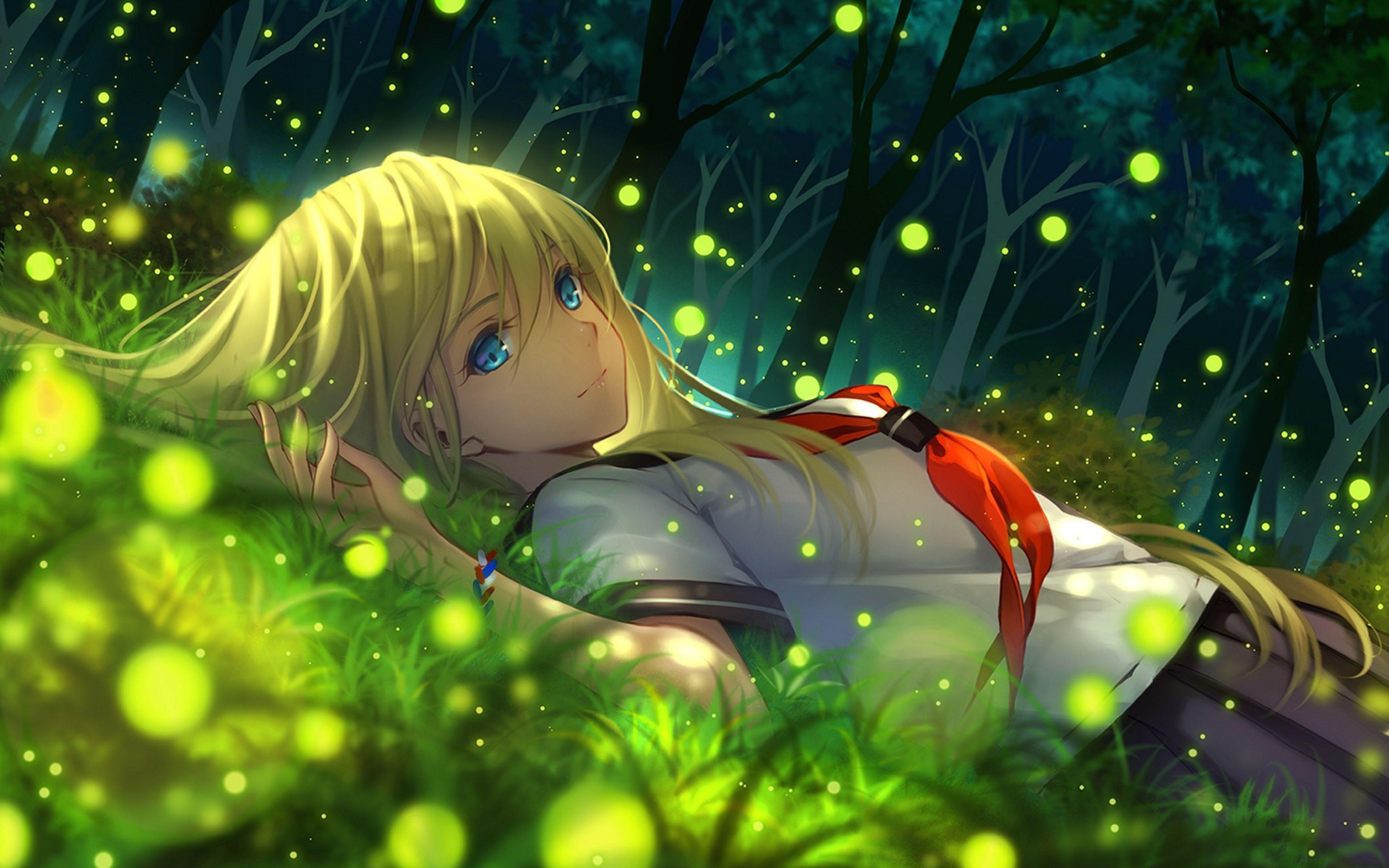 3840x2400 Wallpaper Girl Anime Grass Lying Art Ilustrasi Manga Gadis Animasi Ilustrasi