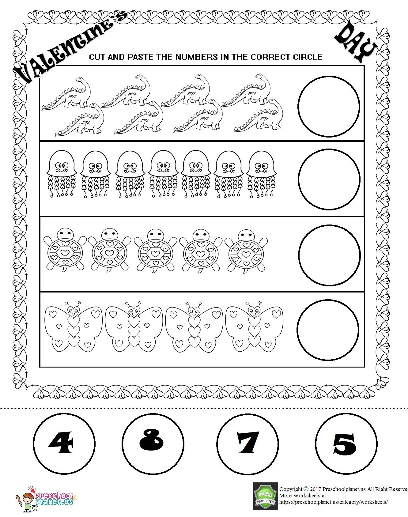 Valentine S Day Number Worksheet For Kids