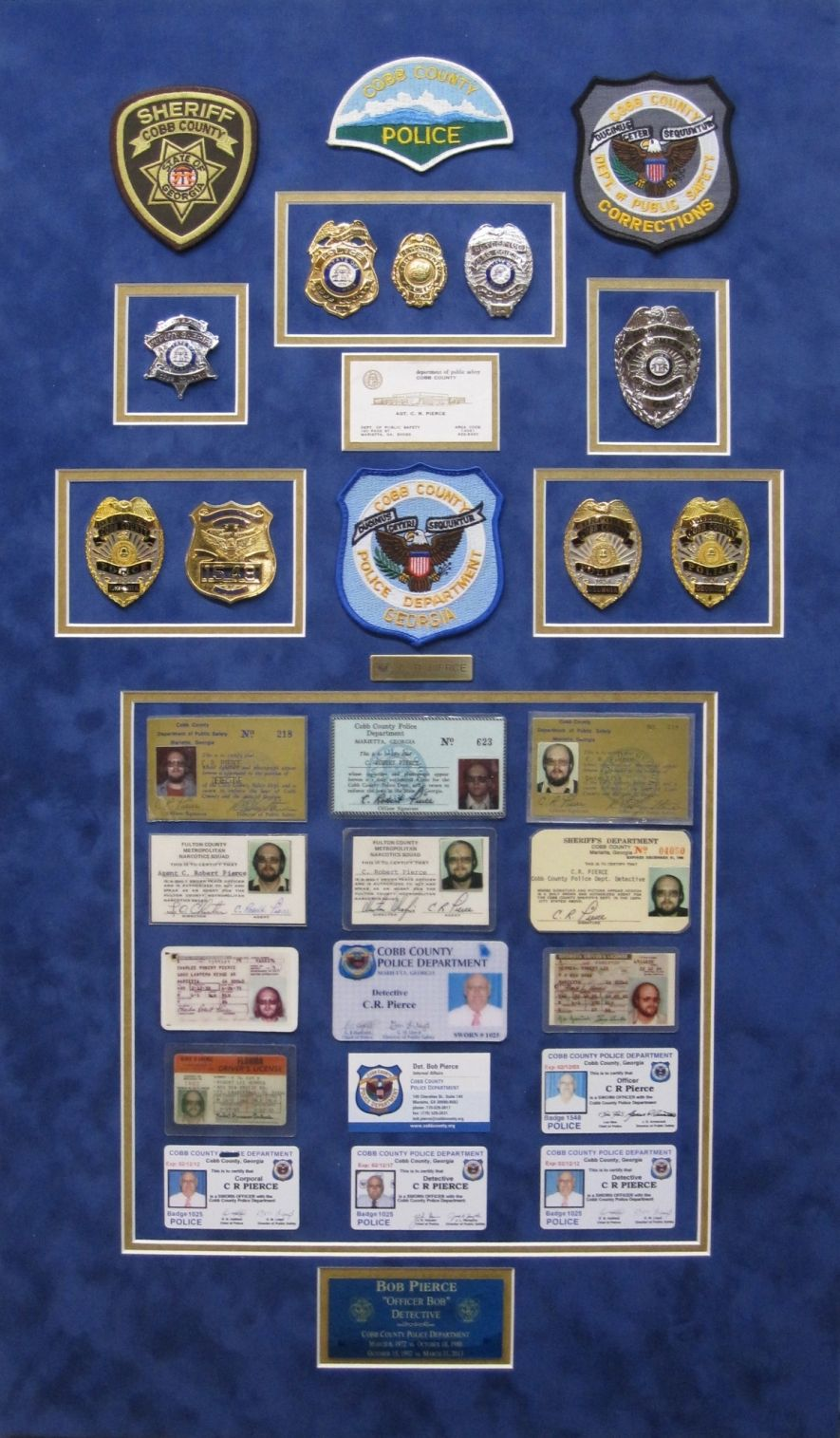 Cobb County Police Department 2013 Retirement Gift Shadow Box