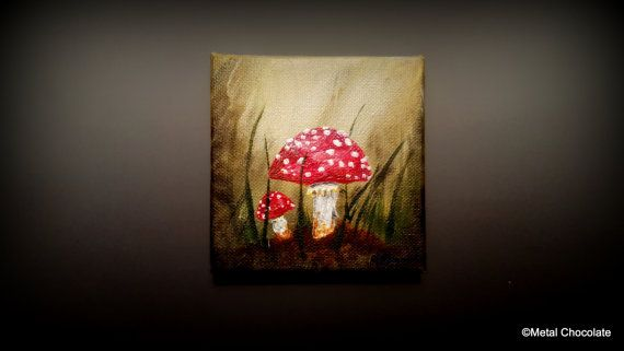 Small Red Toadstool Original Painting by Amy by MetalChocolate