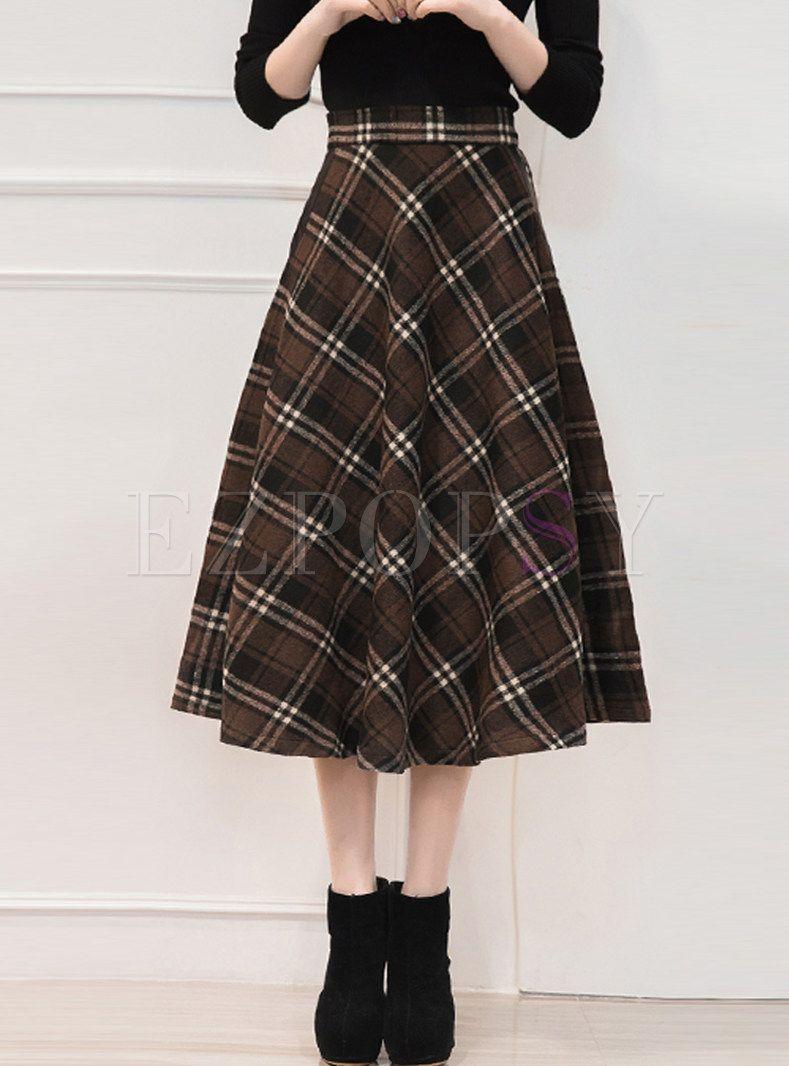 76769acbb Vintage Plaid Thick Wool Big Hem Midi Skirt in 2019 | Clothes ...