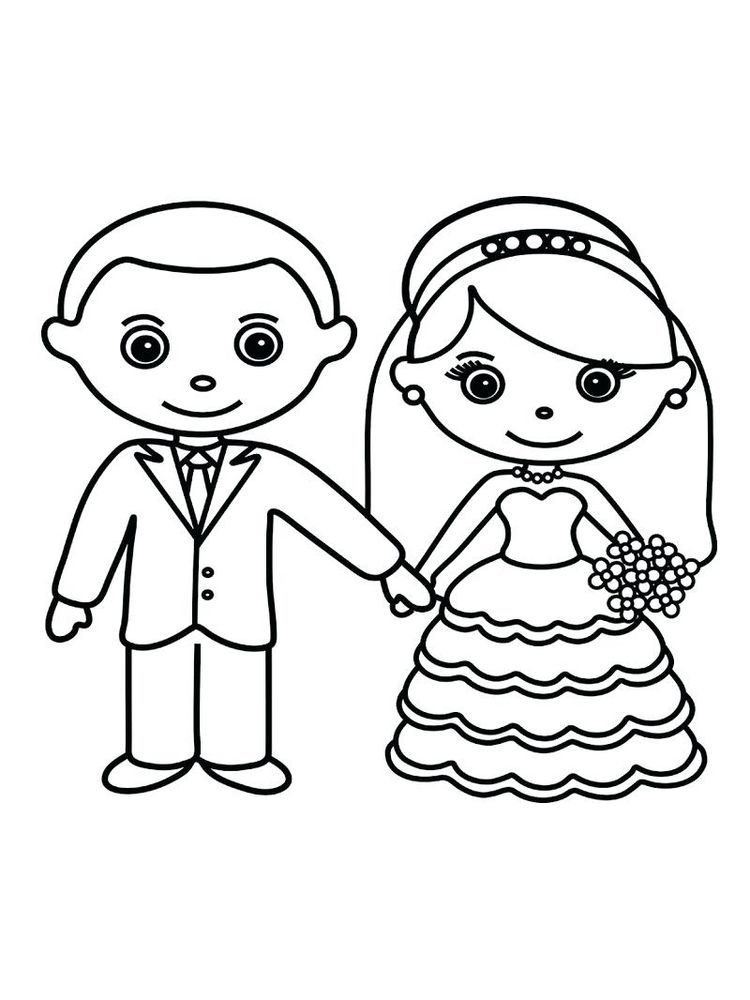 Bride And Groom Coloring Pages Print