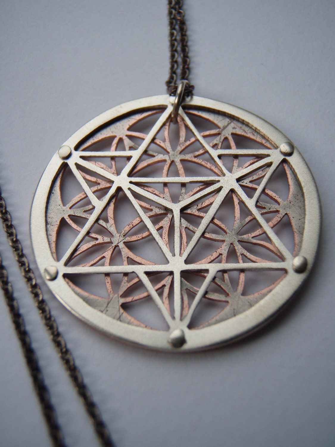 Star tetrahedron and flower of life pendant silver and copper or star tetrahedron and flower of life pendant sterling silver and copper mozeypictures Gallery