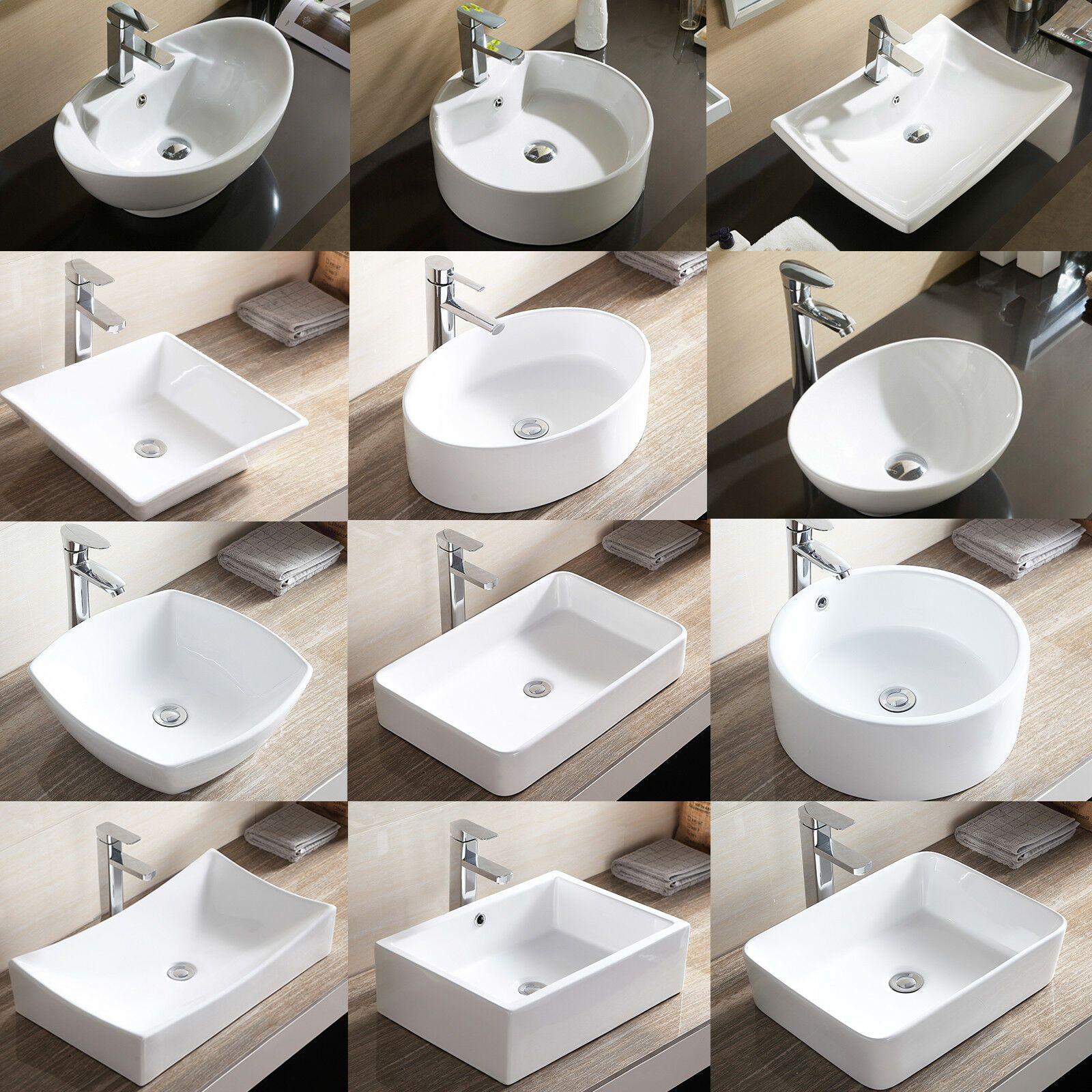 Porcelain Ceramic Vessel Bathroom Sink Basin With Pop Up Drain