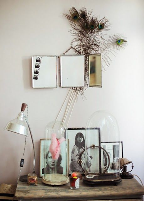 empty frames, feathers and bell jars.